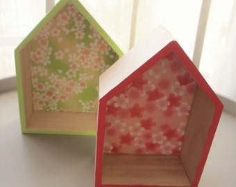 Set of 2 wooden small houses / Japanese paper shelves room decoration