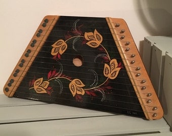 Hand Painted Music Lap Harp; Zither Musical Stringed Instrument