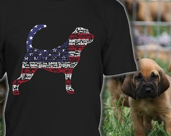 Bloodhound Shirt USA Flag Tee - Perfect Gift for Bloodhound Lovers - Bloodhound Dog T Shirt - Bloodhound Clothes