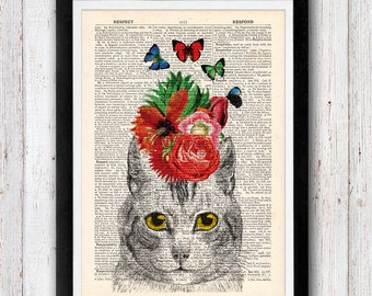 Cat Print Art Kitten kitty cat vintage dictionary page book art print 301
