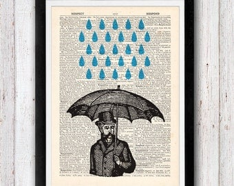 Raining Day Man with Umbrella in Rain vintage dictionary page book art print
