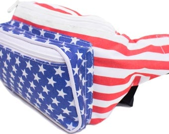 Fanny Pack USA American Flag Stars and Stripes Red White & Blue for July 4th, memorial day, labor day -by SoJourner Bags *FREE SHIPPING*