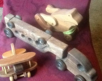Set of 3 Vintage Handmade Wood Toys~ Ships FAST & FREE