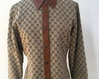 vintage GUCCI GG MONOGRAM Mens Womens Leather Trim Button up Shirt Jacket Blouse Blazer Top S/M