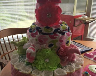 3- Tier Diaper Cake Fully Decorated