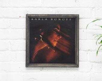 Wall Decor, Vintage Vinyl Cover, Handmade Wooden Rustic Frame, Karla Bonoff Wall Art