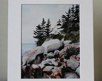 Lighthouse Watercolor Print, Maine, Ocean, Ocean Shore, Watercolor Painting, Print with Mat, Ocean Shore, Lighthouse with Rocks, Seascape