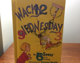 """Dr. Seuss Book Clock (""""Wacky Wednesday"""" by Dr. Seuss, Pages are cut)"""