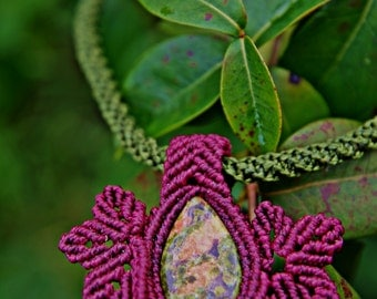Macrame elfic nature necklace with Unakite