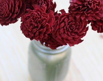 Red Wine Sola Flowers, Sola Flowers, Rustic Wedding, Cake Table Decor, Country Wedding, Rustic Home Decor, Wedding Flowers, DIY flowers