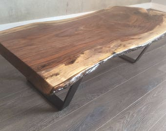 Black Walnut Coffee Table with Steel Legs