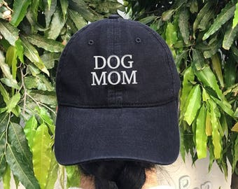 Dog Mom Embroidered Denim Baseball Cap Cotton Hat Unisex Size Cap Tumblr Pinterest