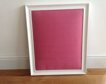 Hand made pin board, pink, white.
