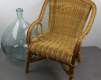 Vintage wicker and rattan children Chair