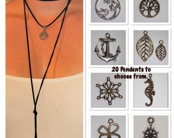 Leather wrap pendant necklace - Wrap it your way