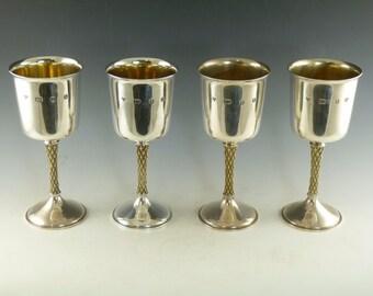 Sterling SILVER - Mid-Century Modern GARRARDS Anthony Elson - Set of 4 Goblets