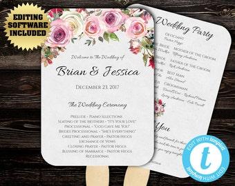 Wedding Program Fan Template - Floral Program Fan - Printable Program Template - DIY Wedding Program - DIY Program Fan - Floral Wedding fans