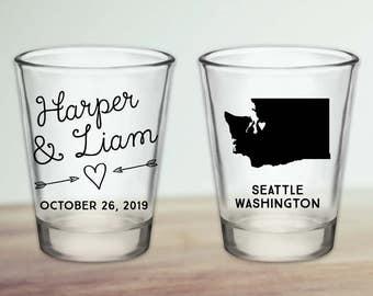 Custom Washington State Wedding Favor Shot Glasses