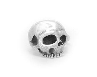 Skull Ring, Silver Skull Ring, Adjustable Skull Ring, 925 Sterling Silver Open Skull Ring