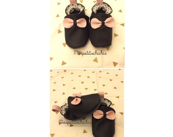 Slippers soft black bow pink