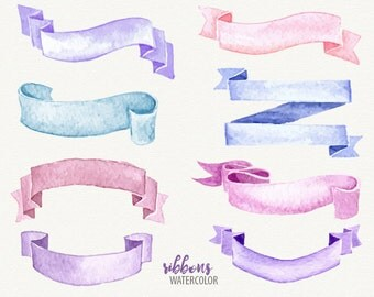 Watercolor ribbon, ribbon clip art, vector ribbon