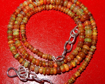 """Amazing Fire Natural Ethiopian opal Roundel Beads Necklace 3MM to 5MM Honey color Welo Fire opal Beads AAA Quality 16"""" Inch long Strand DL1"""