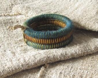 Wrapped wool bracelet, wool bangle bracelets, fiber bangles, striped bracelets, yarn bracelets, colorful fiber bracelets, eco bracelets