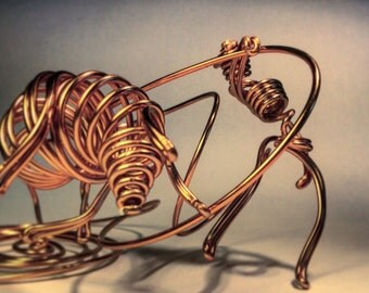 Single-strand Wire Art: Bullfighter, Bull and Matador, Day 98 of 365 Wires