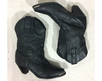 sz. 6 US, 36 37 EU | Capezio women's vintage 80's black distressed look leather metal toe western cowboy slouch boots