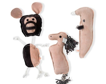 Mighty Paw Leather Dog Toys, 100% Natural, Eco-friendly Durable Dog Toy, 3 Toys per Bundle, Multiple-Squeaker Toy