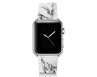 White Marble Apple Watch Band iWatch Genuine Leather Strap 38mm 42mm