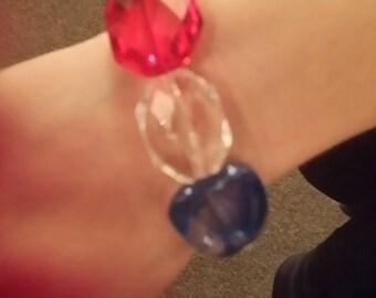 Red, White and Blue beaded bracelet