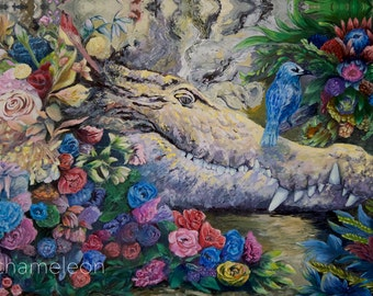 The Croc & the Blue Bird: mjchameleon GICLEE CANVAS PRINTS. 8x12 to 24x36 inches available