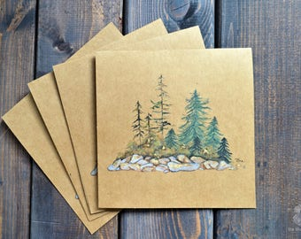 Evergreen | Card Set (of 4) - Hand Painted