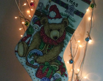 Hand stitched teddy Christmas stocking