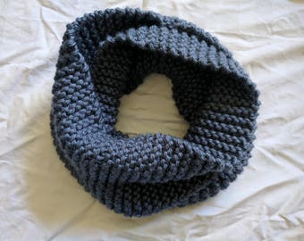 Blue Infinity Scarf Ready to Ship | Steel Blue Classic Infinity | Classic Infinity Scarf | Knit Infinity Scarf | Blue Knit Scarf