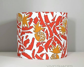 Pineapple tropical fabric lampshade handmade by vivid shades, vintage retro funky pattern custom made drum shade red botanical quirky
