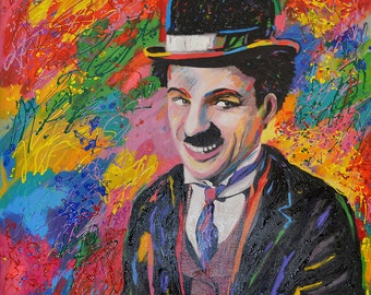 Giclee printing, Charlie Chaplin, Art for sale, Pop art paintings, Pop art for sale, Art pop, Pop art portraits, Original pop art,  canvas