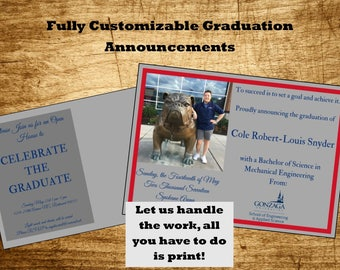 Printable Custom Graduation Announcement, Graduation Invitation or Open House Invitation, We do all the work, you just print!