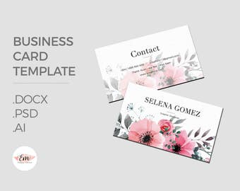 Elegant Floral Business Card Template / creative business card / modern business card / personalized busieness card
