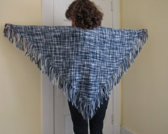 Handwoven Variegated Blue Triangle Shawl