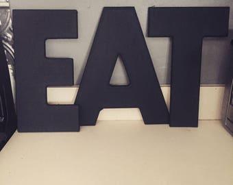 Eat letters, black, kitchen decor letters