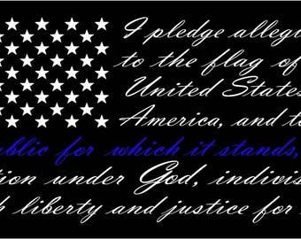 American flag pledge of allegiance vinyl truck window sticker decal Thin blue line, police, LEO, officer