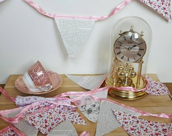 Fabric bunting, pink Sense and Sensibility.