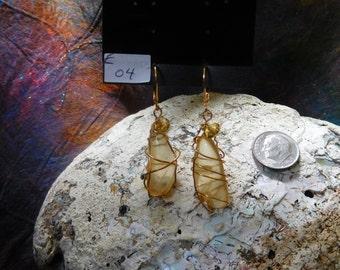Oregon Sunstone Wire-Wrapped Earrings
