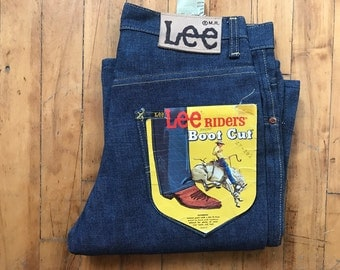 Vintage 60's Lee Riders Sanforized Union Made Raw NWT Bootcut Denim Jeans sz 28 27 USA Cowgirl Western 70's