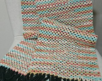 Handwoven Scarf, Pastel Pink and Blue/Tan/White, Super soft and fluffy, 100% Acrylic Yarn