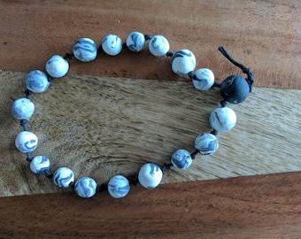 Moons handmade clay meditation beads (japa mala), bracelet, necklace