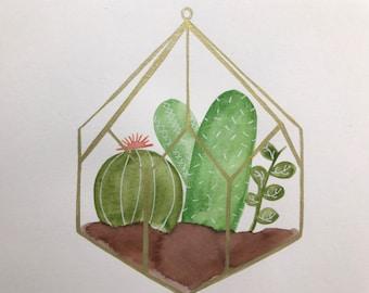 Cactus Terrarium Watercolor
