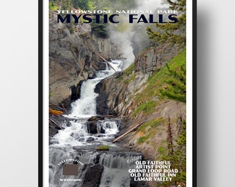 Yellowstone Poster, yellowstone print, travel poster, national park poster, yellowstone national park, national park poster, travel poster